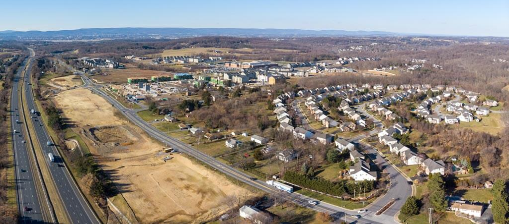 Aerial of Lake Linganore Town Center